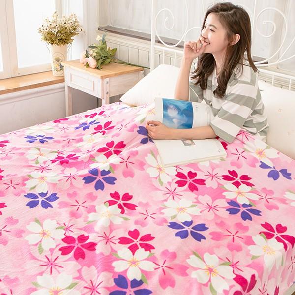 毯子法蘭絨~櫻花~極細柔保暖毯150x190cm