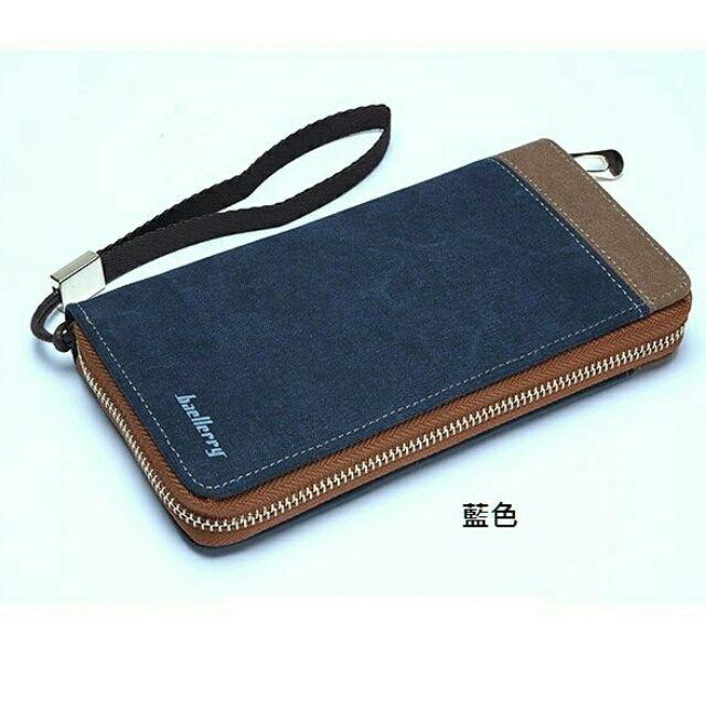 晶麗坊 男士 手拿包手機包帆布包長夾錢包皮夾精美盒裝多色