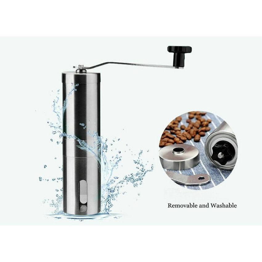 Leegoal 304 不鏽鋼磨機搖磨豆機便攜不鏽鋼咖啡機磨粉機磨咖啡豆機研磨機手動磨豆機