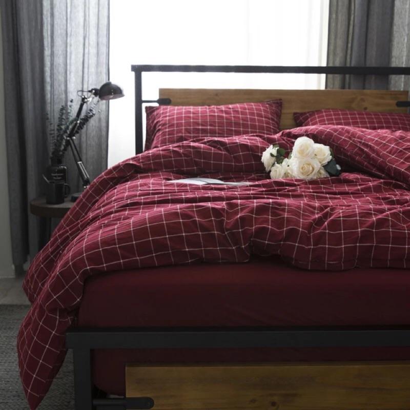 無印良品款紅格紋水洗棉純棉床包組床單被套枕套ikea muji 簡約專櫃極簡 格子格紋紅色
