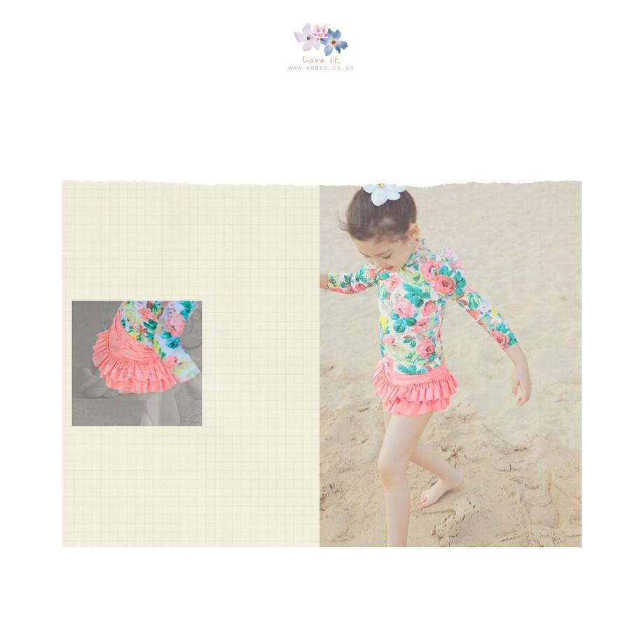 女童泳衣兒童防曬長袖碎花分體裙式泳裝