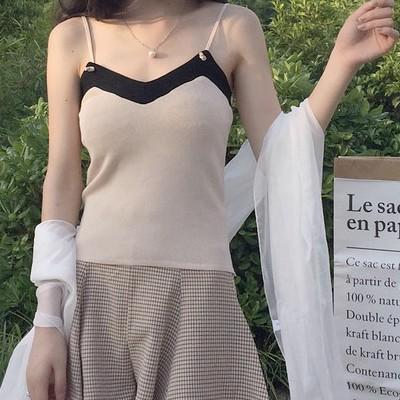 實拍先搶韓系複古風小清新修身顯瘦吊帶港味露肩吊帶針織衫V 領背心女