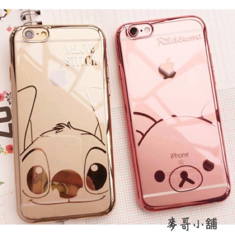 可愛拉拉熊史迪奇IPHONE 6 6S 6 6S 電鍍透明軟殼拉拉熊史迪奇TPU 玫瑰金香