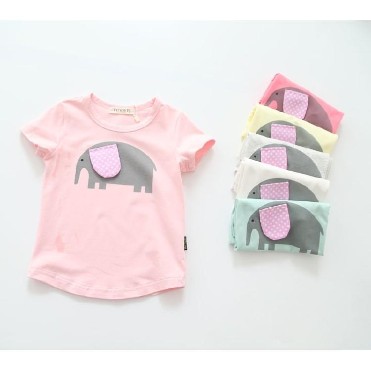 C2136 韓系兒童短袖T 恤男童女童寶寶大象多色百搭圓領套頭上衣MAMA 咪呀 衣鋪