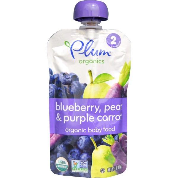 Plum Organics 有機婴兒副食品,2 階段,藍莓、水梨和紫色胡蘿蔔