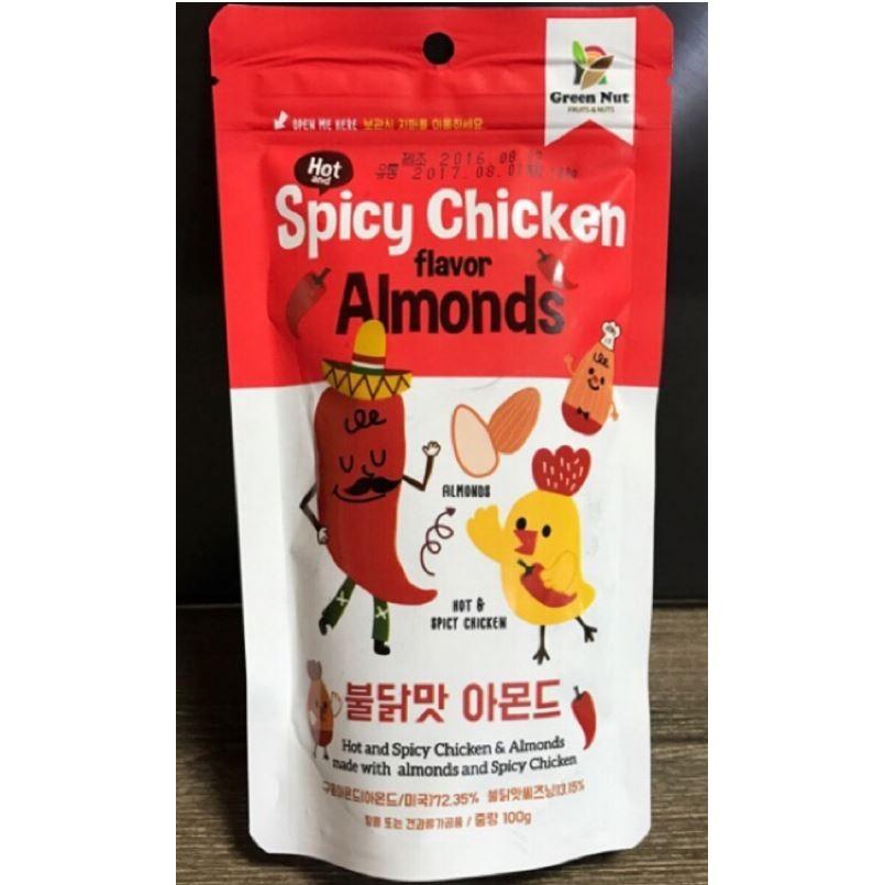 韓國GREEN NUTS 辣雞風味杏仁果100g 包裝