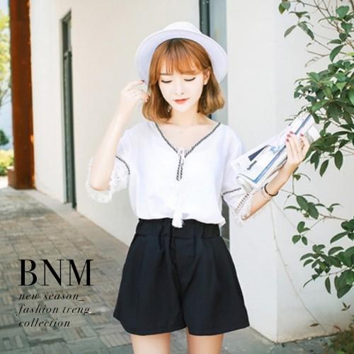 短袖上衣顯瘦V 領口綁帶流蘇短袖上衣BNM