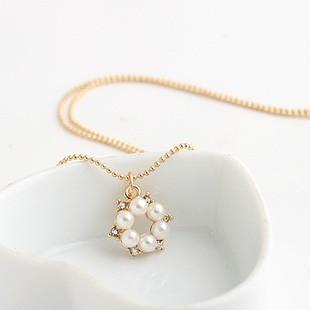 出口韓國 鍍真金精美鑲嵌珍珠鏤空花朵項鍊鎖骨鏈