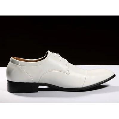 春 尖頭皮鞋英倫白色 男鞋 潮流 男士結婚鞋影樓