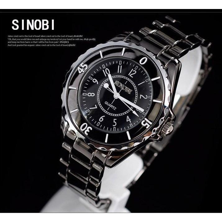 1850G SINOBI 時諾比鎢鋼錶 手錶男錶女錶對錶黑白類似香奈兒陶瓷錶熔岩錶光能錶鏡