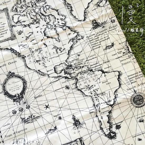 ~ ~ZAKKA 雜貨桌布遨遊復古世界地圖棉麻長方形桌布拍照背景布