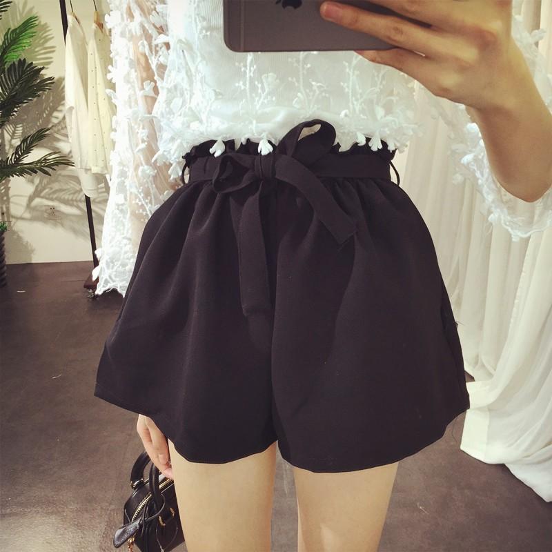 韓系氣質寬鬆顯瘦鬆緊高腰綁帶休閒短褲春夏