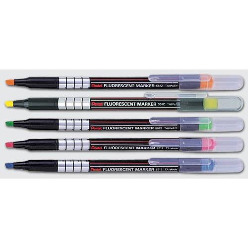 Pentel 飛龍S512 水性螢光筆12 支1 盒黃橘綠粉藍