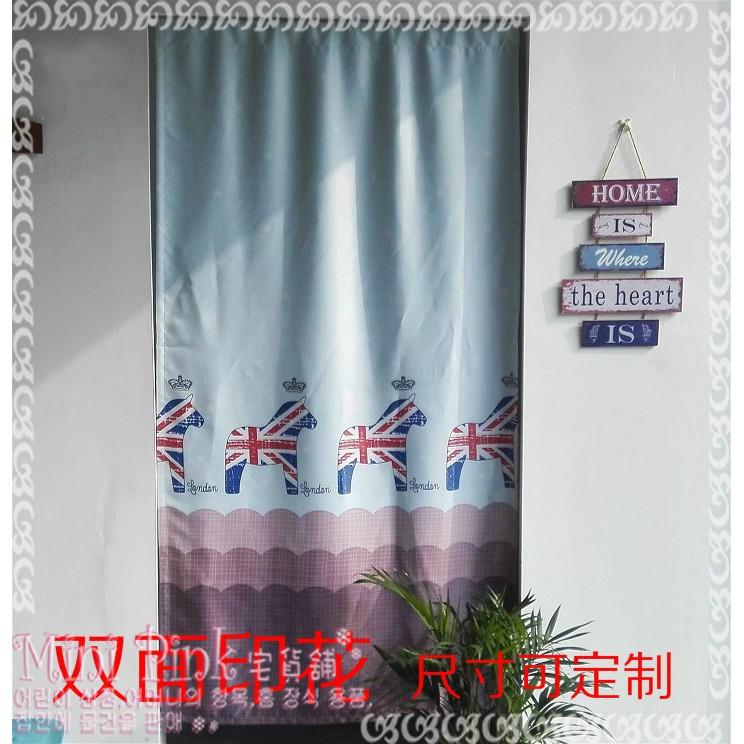 Mini Pink 宅貨舖英倫風米字旗木馬兒童房書房遮光穿桿式雙面門簾 規格~C761 1