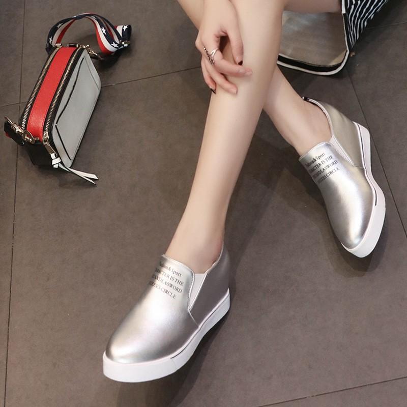 一腳蹬內增高女休閒樂福懶人尖頭小白鞋坡跟厚底單鞋女潮