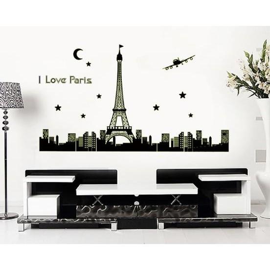 ~心築壁貼~~ABQ9602 巴黎之夜~夜光壁貼不傷牆面重複撕貼