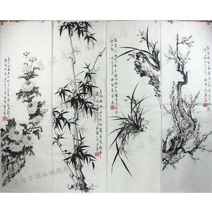 國畫純手繪四條屏梅蘭竹菊花鳥畫茶藝文化家居辦公室字畫 收藏