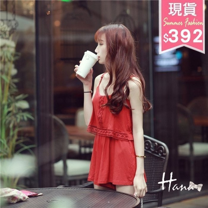 Hanagirl 韓國直送✈舒適純棉連身褲裙紅色喜筵洋裝