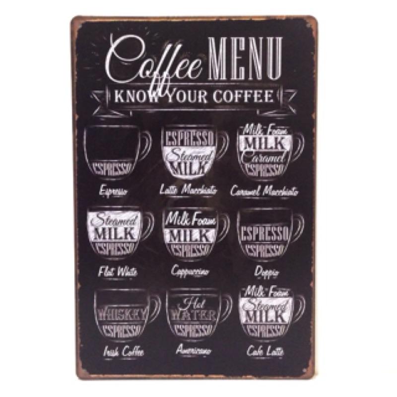 咖啡☕️MENU 鐵皮鐵牌鐵片壁飾掛飾鐵藝