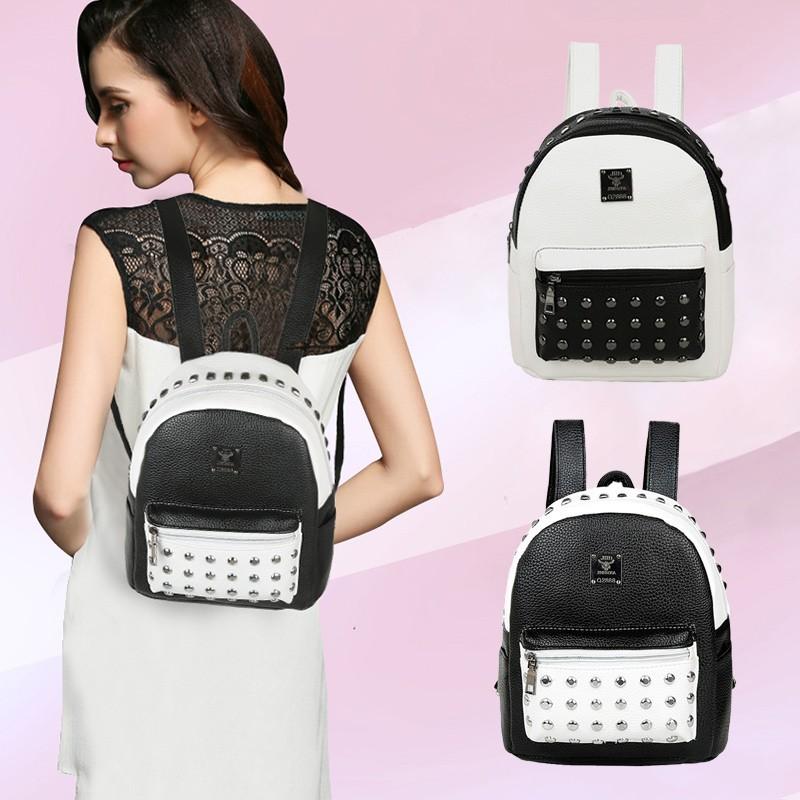Baggra 女包 雙肩包PU 皮鉚釘裝飾雙色拼接可調節肩帶新潮背包學生書包