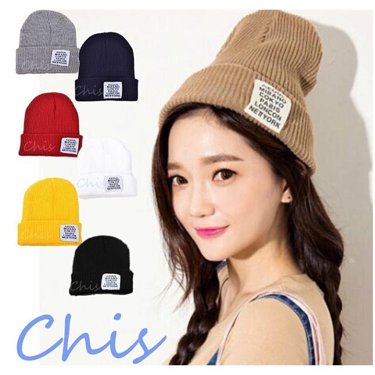 Chis Store ~城市布標針織帽~早春 韓國 原宿風毛線帽子編織毛帽男女情侶漁夫帽嘻