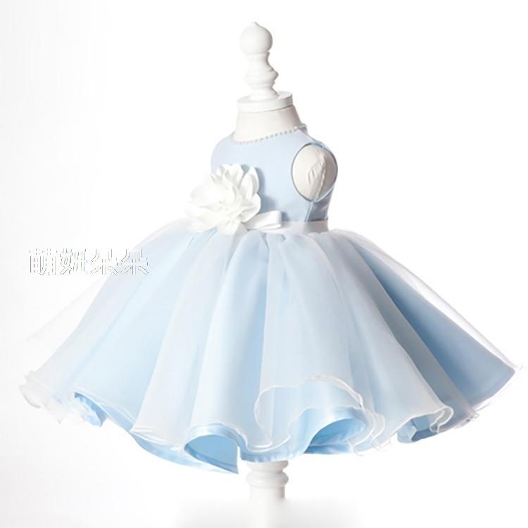 ~萌妞朵朵~ 藍色 公主裙花童禮服表演服小洋裝公主裙畢業照實照b003