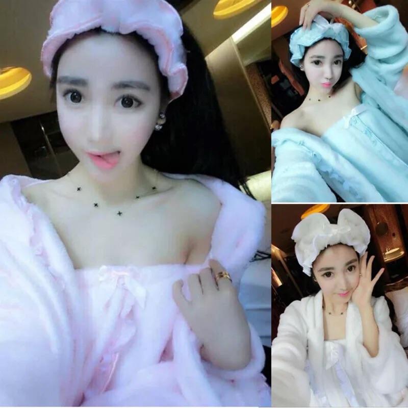 性感睡衣三件組~超軟100 法蘭絨睡衣髮帶外套套裝~平口洋裝辣妹韓國 圓領毛衣方妮FANI