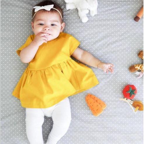 ~將將王子~ 風薑黃收腰上衣新生兒春女寶2017 嬰幼兒短袖夏連衣裙純色娃娃裝後綁帶