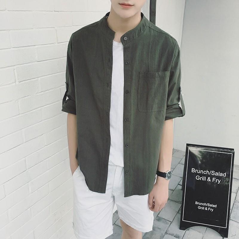 mic 男裝中國風純色棉麻男士短袖寬松立領襯衫青年亞麻七分袖襯衣