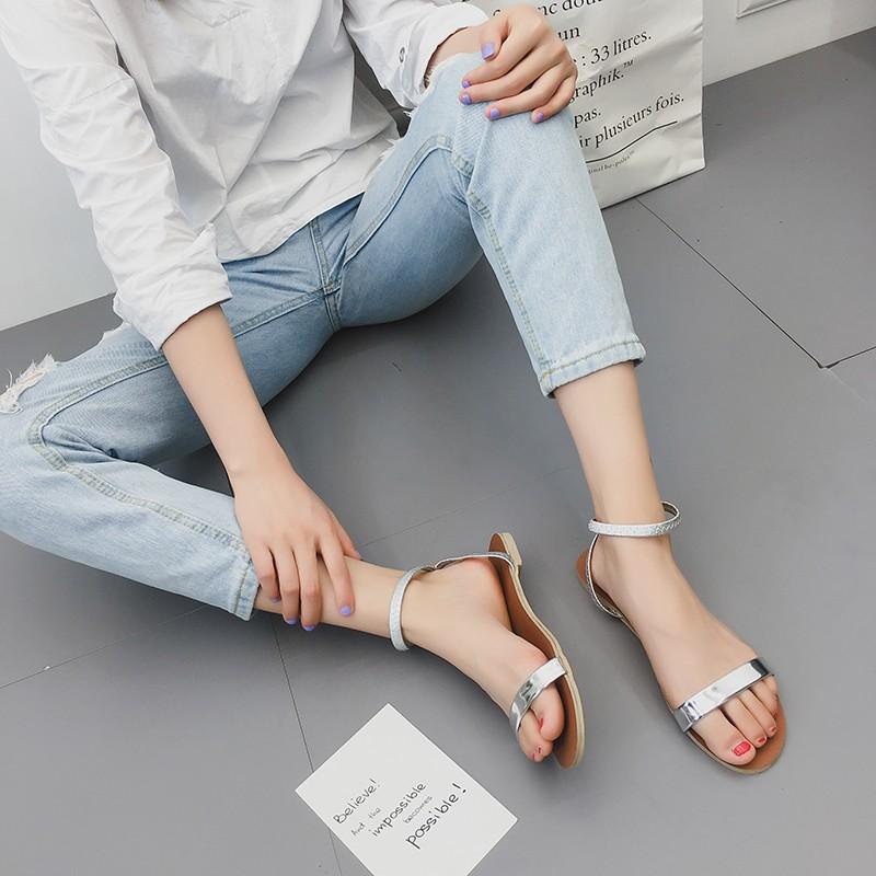涼鞋女夏2017 交叉綁帶復古羅馬鞋一字扣露趾學生平底涼鞋
