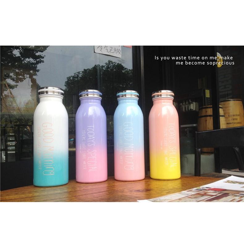 ~ ~450ml 超美馬卡龍不鏽鋼漸層牛奶瓶大容量水壺隨身瓶保溫瓶保溫杯紫粉色M001 0