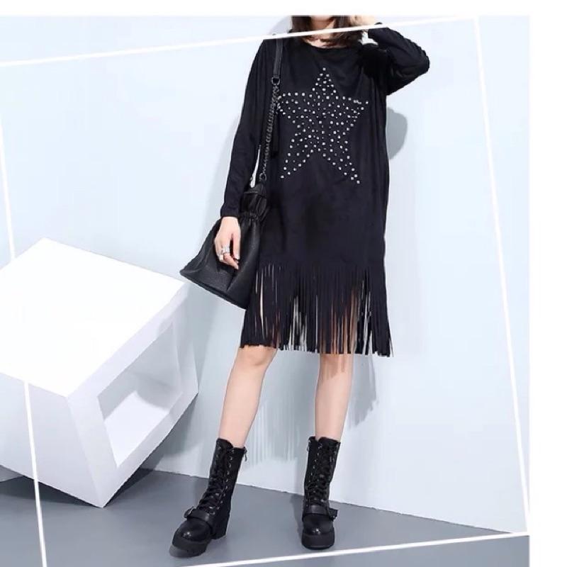 Y2 ™簡約星星卯釘鑽石麂皮流蘇洋裝長袖簡約長版tshirt 不規則剪裁修身顯瘦瘦身大 寬
