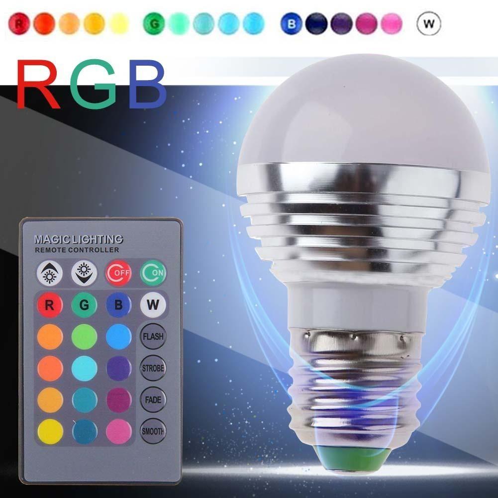 3W E27 RGB 燈16 用遙控器變色LED 彩色燈泡螺口燈泡青綠紫藍黃粉紅色球泡節能