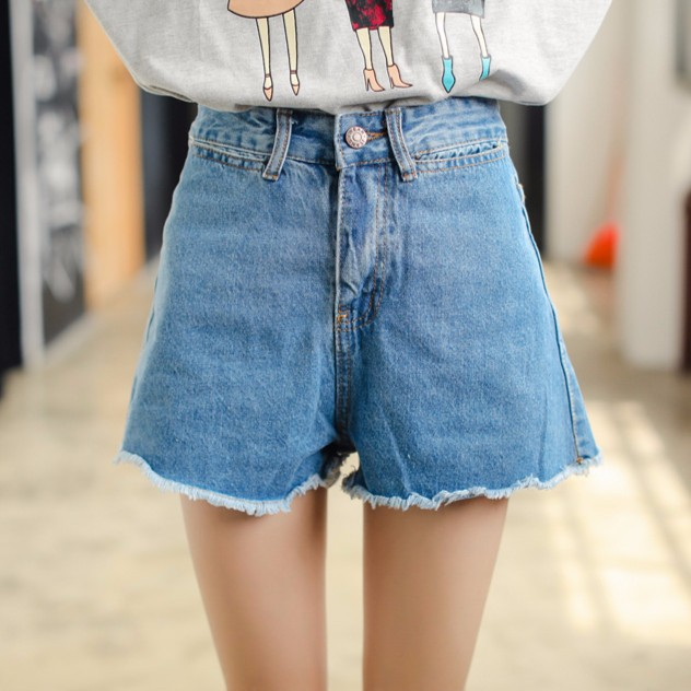 短款捲邊高腰寬鬆牛仔褲