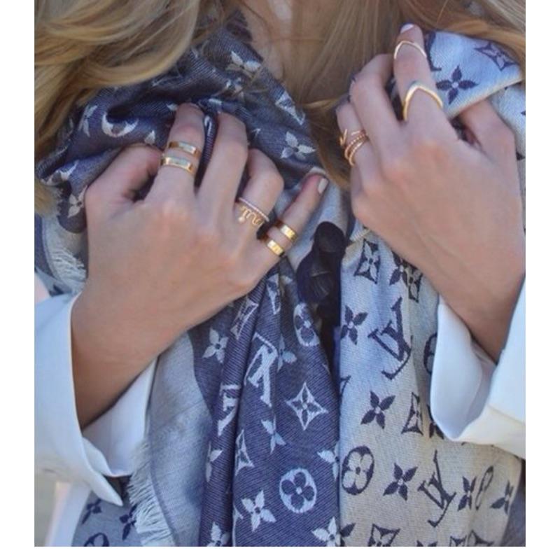 Louis Vuitton LV M71376 Monogram Denim 披巾圍巾藍色