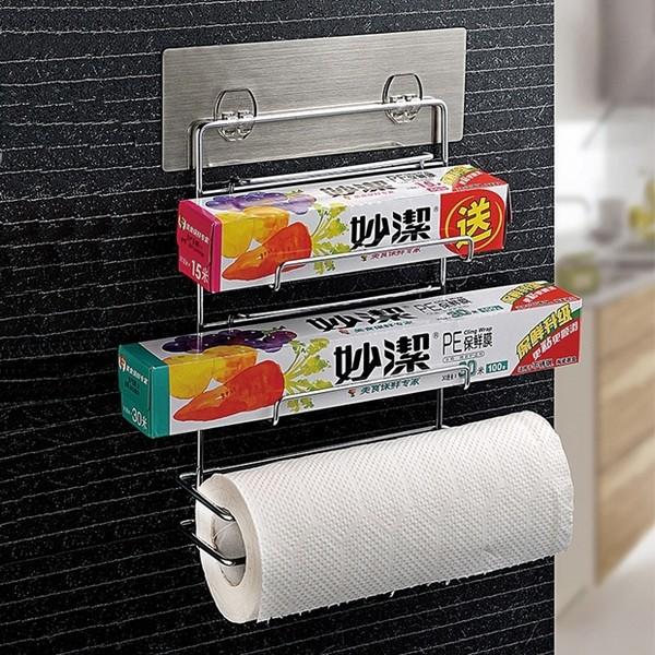無痕貼保鮮膜收納架廚房 不銹鋼紙巾架冰箱側掛架置物架超強專利魔力無痕貼免釘免鑽置物架抽取式