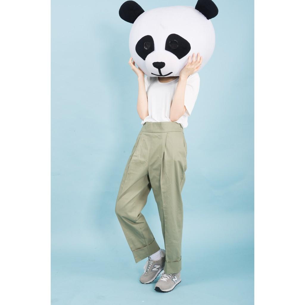 ~ 不用等~韓國帶回打折厚磅寬版雙口袋西裝褲褲管打折寬褲 簡約寬鬆