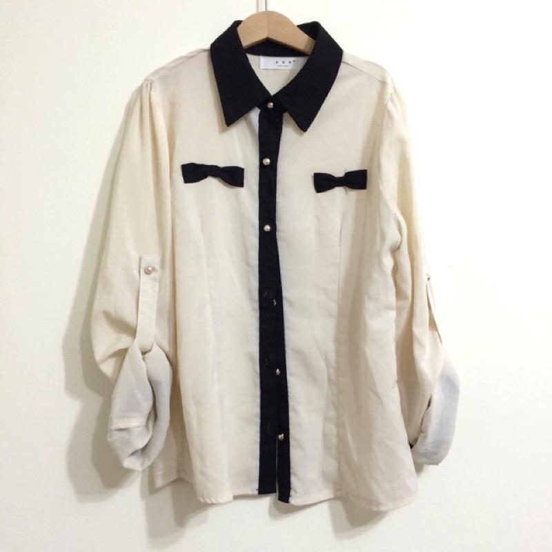 米色雪紡長袖上衣襯衫透膚袖子可捲