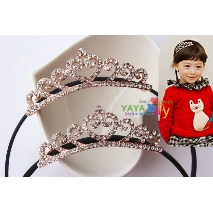 Yaya baby 寶寶兒童髮飾玫瑰金水鑽皇冠全包布髮箍花童日常也很 哦!