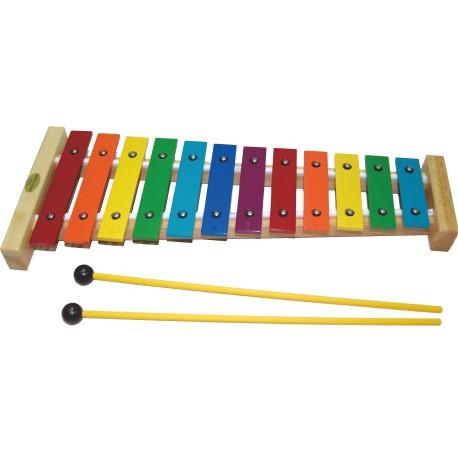 ~華邑樂器53029 ~台製彩色12 音鐵琴彩虹排列附紙盒琴槌鋁製奧福節奏樂器