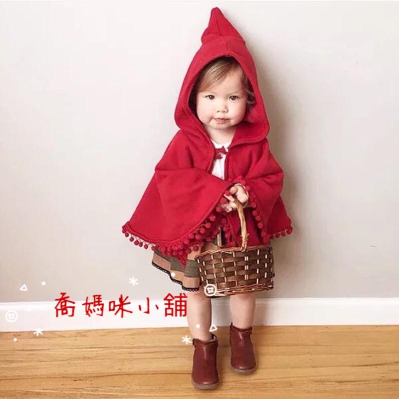 ✨獨✨女童紅色連帽小紅帽斗篷流蘇小球披風外套