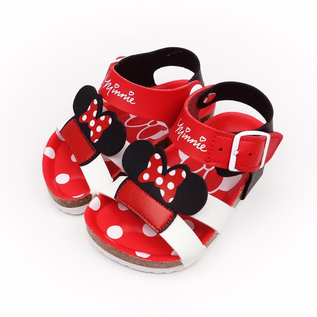 童鞋Disney 迪士尼米妮頭 點點氣墊兒童涼鞋463813 紅色
