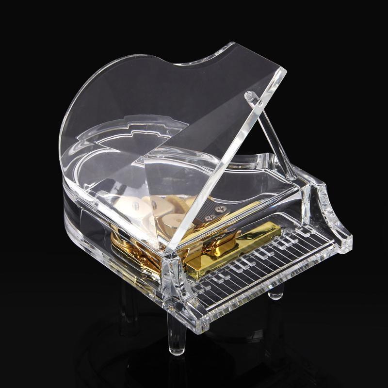 高檔透明發條式帶LED 燈鋼琴音樂盒 MG 323