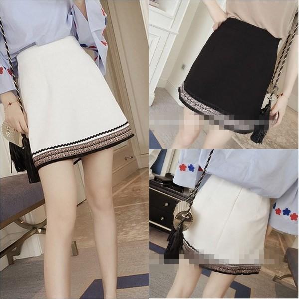 B57 2017  修身高腰A 字裙刺繡民族風裙子顯瘦半身裙短裙