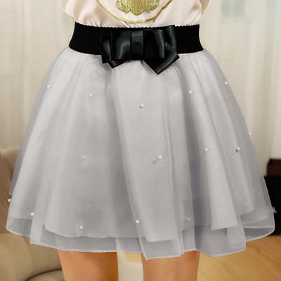 春夏歐根紗蓬蓬a 字短裙百褶公主褲裙打底女裝釘珠蕾絲半身裙