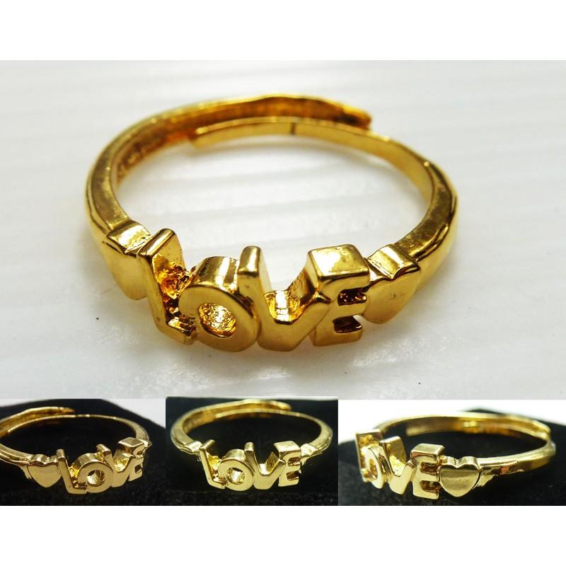 鍍18K 24K 沙金防過敏精美女士LOVE 開口戒指結婚訂婚節日送禮生日送禮精製特別款