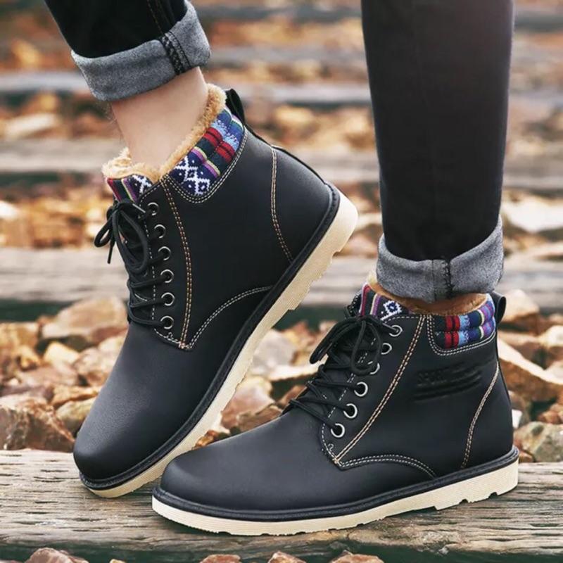 男鞋短靴休閒皮鞋英倫工裝鞋大頭鞋加絨保暖棉鞋馬丁鞋靴子