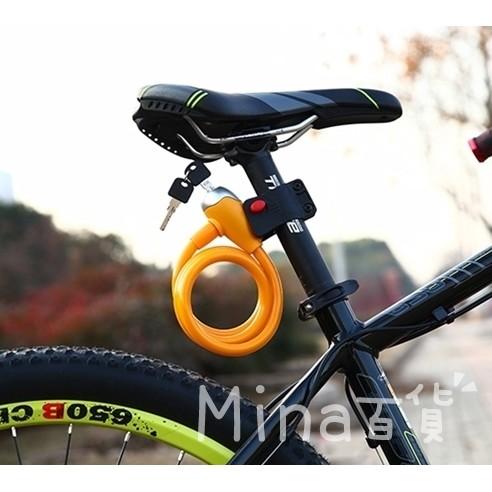 ~mina ~自行車彩鎖鎖架二合一自行車加粗純銅芯多圈鋼絲鎖防盜鏈鋼鎖登山車~H006 ~