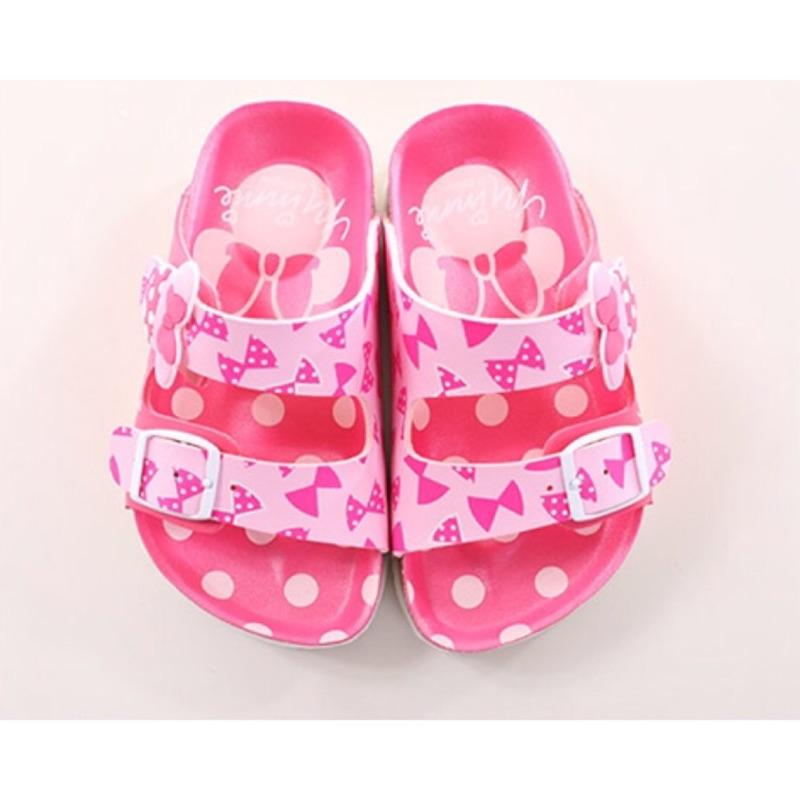 ~迪士尼~Disney 迪士尼米妮粉色兒童氣墊涼拖鞋464707 )
