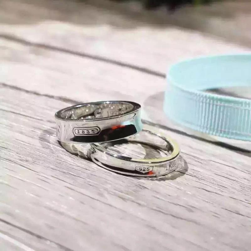 925 純銀戒指Tiffany 蒂芬尼1837 同款男女對戒定情訂婚戒指聖誕節情人節生日